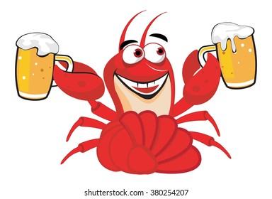 Happy cartoon red lobster with the craft beer