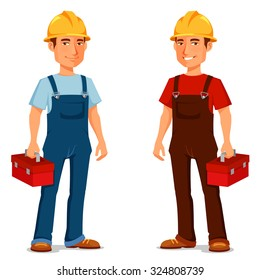 happy cartoon repairman or construction worker with safety hat