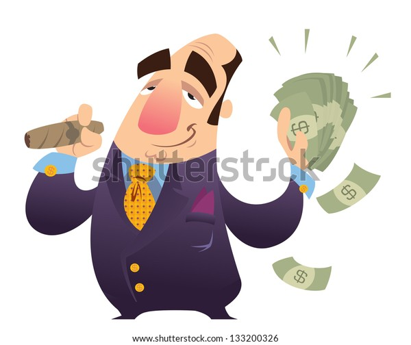 A happy cartoon rich man, smoking cigar and holding many dollar bank notes