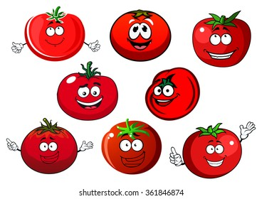 Happy cartoon ripe red tomato vegetables characters with curly green stalks. Agriculture harvest, vegetarian food and healthy nutrition usage