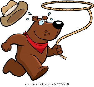A happy cartoon rodeo bear running with a lasso.