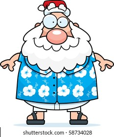A happy cartoon Santa Claus in summer clothes.