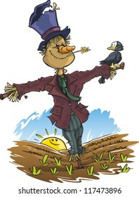 A happy cartoon scarecrow (who likes birds)