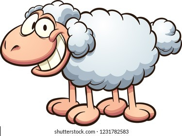 Happy cartoon sheep. Vector clip art illustration with simple gradients. All in a single layer.