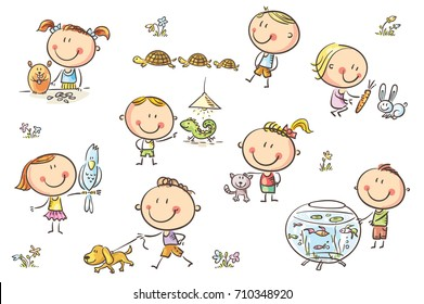 Happy cartoon sketchy kids with different pets like a puppy, a cat, a lizard, a parrot and others. No gradients used, easy to print and edit. Vector files can be scaled to any size.