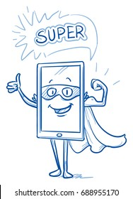 Happy cartoon smart phone mascot character dressed up as a super hero with mask and cape, showing his muscle bower and thumb up. Hand drawn line art cartoon vector illustration.