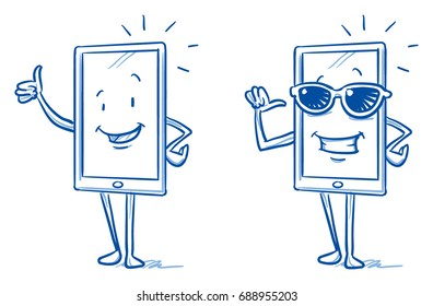 Happy cartoon smart phone mascot character showing thumb up and being the cool guy with sunglasses. Hand drawn line art cartoon vector illustration.
