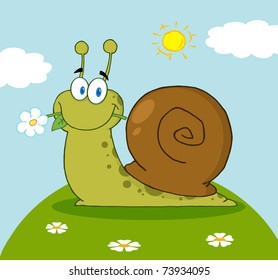 Happy Cartoon Snail With A Flower In Its Mouth On A Hill