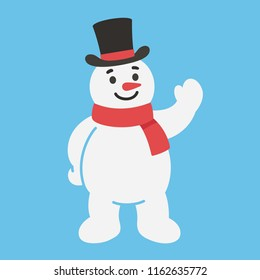 Happy cartoon snowman character in scarf and top hat standing and waving. Cute Christmas vector illustration.