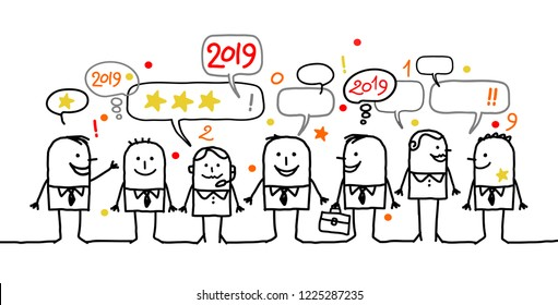 Happy Cartoon Social Business People and New Year 2019