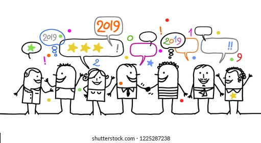 Happy Cartoon Social People and New Year 2019