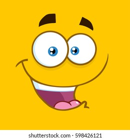 Happy Cartoon Square Emoticons With Smiling Expression. Vector Illustration With Yellow Background