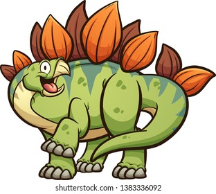Happy cartoon stegosaurus dinosaur with leg up clip art. Vector illustration with simple gradients. All in a single layer.