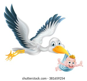A happy cartoon stork bird animal character flying through the air holding a newborn baby. Classic myth of stork bird delivering a new born baby