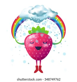 Happy cartoon strawberry holding a rainbow with a snow clouds. Winter nutrition vector illustration
