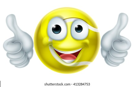 A happy cartoon tennis ball man mascot character doing a double thumbs up