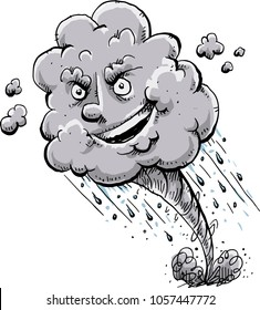 A happy, cartoon tornado storm cloud with a sneaky grin as it rains and causes destruction.