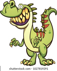 Happy cartoon t-rex dinosaur with a big toothy smile. Vector clip art illustration with simple gradients. All in a single layer.