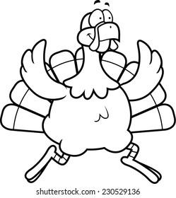 A happy cartoon turkey running and smiling.