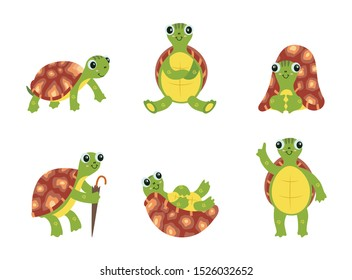 Happy cartoon turtle set - cute green sea animal with brown shell standing, sitting and lying in different positions, smiling tortoise isolated on white background, vector illustration