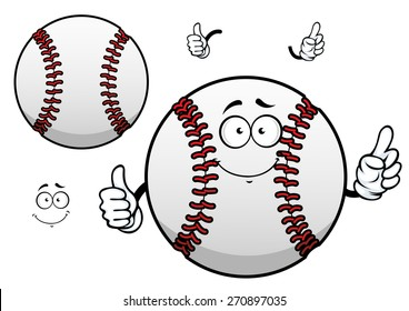 Happy cartoon white baseball ball character with raised red stitches showing thumb up gesture for sporting mascot or tournament design
