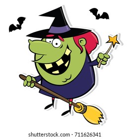 Happy cartoon witch riding a broom and accompanied by a group of bats. Vector clip art illustration with clean strong colors.