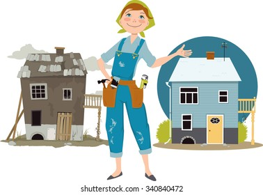 Happy cartoon woman in overalls with tools standing between pictures of a house before and after renovation, EPS 8 vector illustration, no transparencies