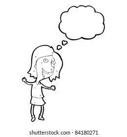 happy cartoon woman with thought bubble