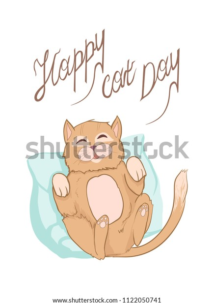 Happy Cat Day Greeting Vector Card Stock Vector Royalty Free 1122050741
