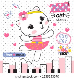 Happy cat girl in ballet costume dance on a piano on polka dot background illustration vector.