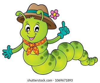 Happy caterpillar theme image 1 - eps10 vector illustration.