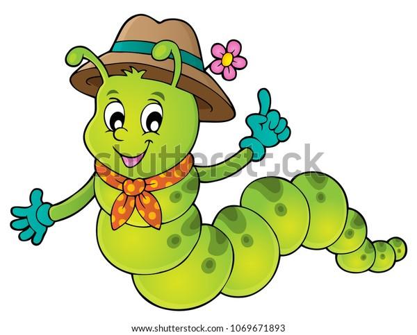 Happy caterpillar theme image 1 - eps10 vector illustration.