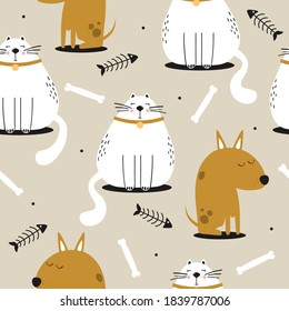 Happy cats, dogs, hand drawn backdrop. Colorful seamless pattern with animals, fishes, bones. Decorative cute wallpaper, good for printing. Overlapping background vector. Design illustration