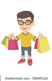 Happy caucasian boy holding shopping bags. Young smiling boy carrying shopping bags. Cheerful boy standing with a lot of shopping bags. Vector sketch cartoon illustration isolated on white background.