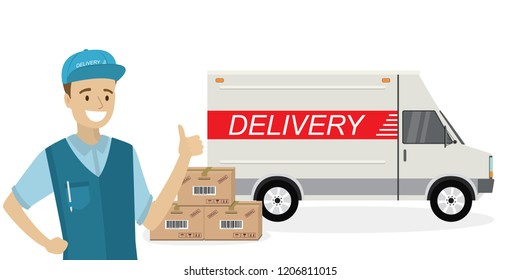 Happy caucasian deliveryman,delivery truck and carton boxes,man in uniform and transport isolated on white background,flat vector illustration