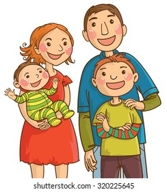Happy caucasian family: mother, father, son, baby. Isolated objects on white background. Great illustration for school books. magazines, advertising and more. VECTOR.