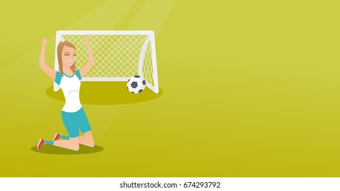 Happy caucasian soccer player celebrating a goal. Young football player kneeling with raised arms on the background of football gate with ball in it. Vector flat design illustration. Horizontal layout