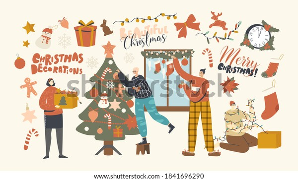 Happy Characters Decorate Christmas Tree. Family or Friends Company Hanging Baubles and Garland on Fir Tree and Window. People Prepare to Celebrate New Year or Xmas at Home. Linear Vector Illustration
