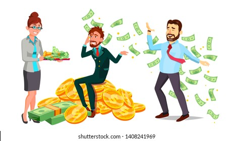 Happy Characters Man And Woman Millionaire Vector. Very Rich Female With Cash On Salver, Male Sitting Mountain Of Coins And Millionaire Magnate Bathing In Money. Flat Cartoon Illustration