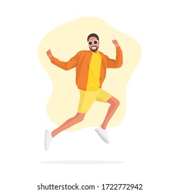 Happy and cheerful African man with glasses jumping up. Happiness concept. Successful guy. Celebration party. Fun activity. Good times. Feeling excited. Victory - flat vector illustration.