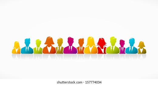 Happy cheerful business silhouettes expressing unity