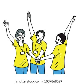 Happy and cheerful young volunteers holding and raised hands together. Outline, thin line art, hand drawn sketch, simple style.