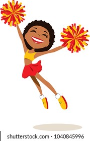 Happy cheerleader in red and yellow uniform, with matching pompoms, leaps and dances. Vector illustration