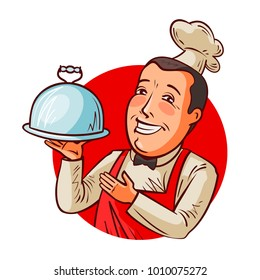 Happy chef with tray in hand. Restaurant, eatery, food concept. Cartoon vector illustration