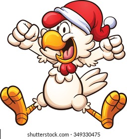Happy chicken with a Christmas hat. Vector clip art illustration with simple gradients. All in a single layer.