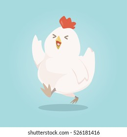 Happy chicken cute cartoon character, vector illustration.