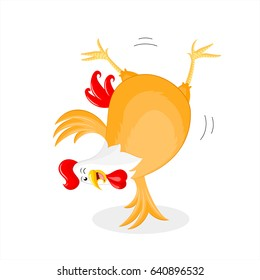 Happy chicken doing a somersault. Rooster character design, vector cartoon illustration.  isolated on white background.