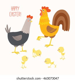 Happy Chicken family. Funny hen and cock with their chicks. Cartoon clipart eps 10 hand drawn vector illustration isolated on white. Happy Easter card design.