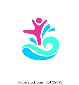 Happy child and active lifestyle logo