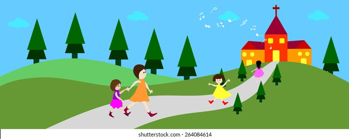 Happy child going to church - time line cover- Vector illustrations